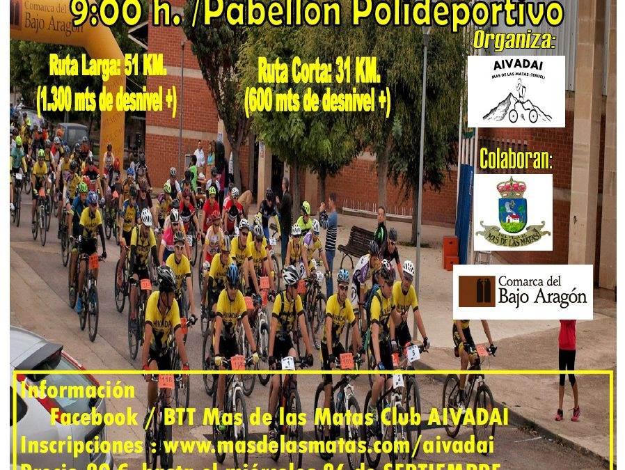 III Ruta Cicloturista en BTT Mas de las Matas. 30 de Septiembre.